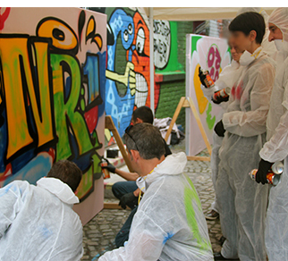Teambuilding mit Graffiti im Yaam outdoor - Yaam Beach - oder indoor- Skylinegallery
