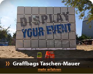 live Perfomance, Messe- und interaktive Show mit der Taschenmauer von Urban Artists - auch als Fotobackground