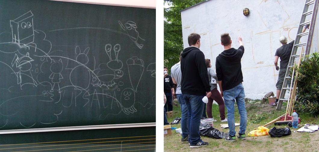 graffiti workshop mit wandgestaltung f r pfefferwerk urban artists. Black Bedroom Furniture Sets. Home Design Ideas