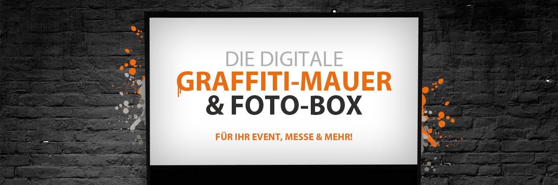 Digitale Graffiti Mauer und Photobox Digital Graffiti Photobooth für Event, Messe, Messestand und andere Veranstaltungen buchen