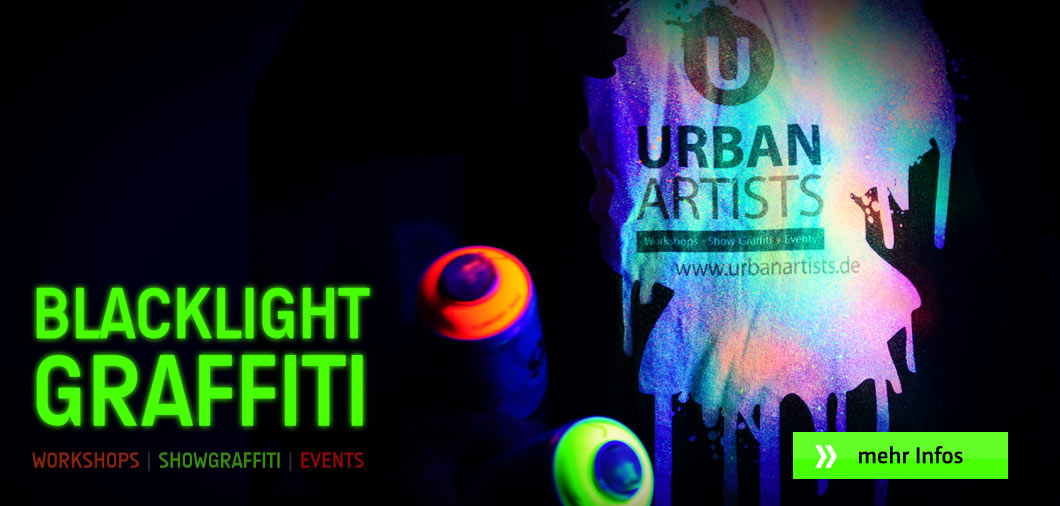 NEON! Blacklight Graffiti-Workshops und Event-Graffiti